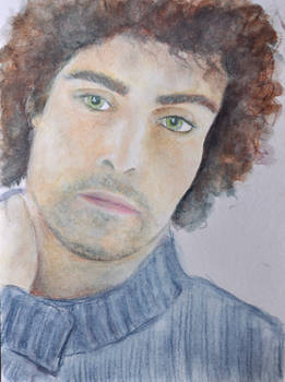 Rufus Sewell - watercolour pencils wip