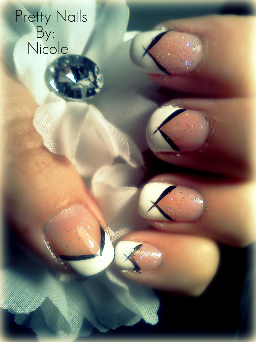 Nail art: black n white tips by ninjanatus84 on DeviantArt