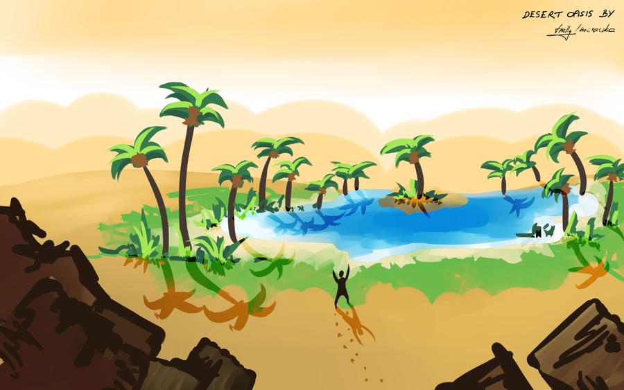 desert oasis drawing - photo #2