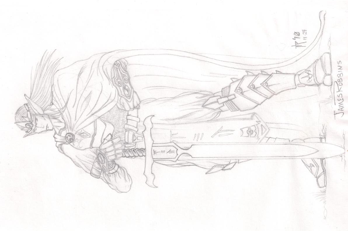 Sketch - Elf WarriorKing by PsykotikDragon