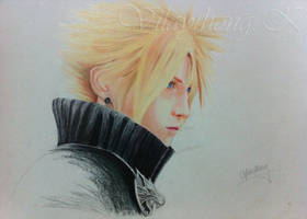 Artwork 1: Cloud Strife (First artwork in colour) by Vilaythong