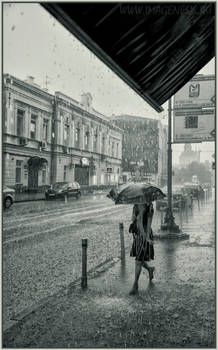 Walking under rain