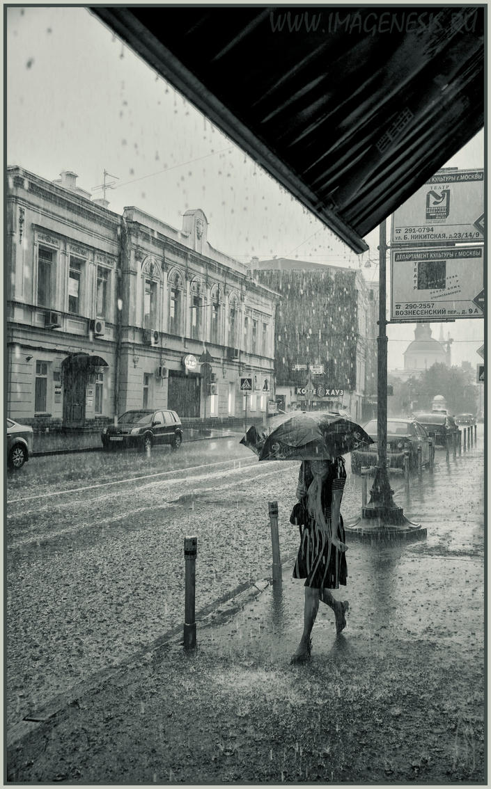 Walking under rain by Igor-Demidov