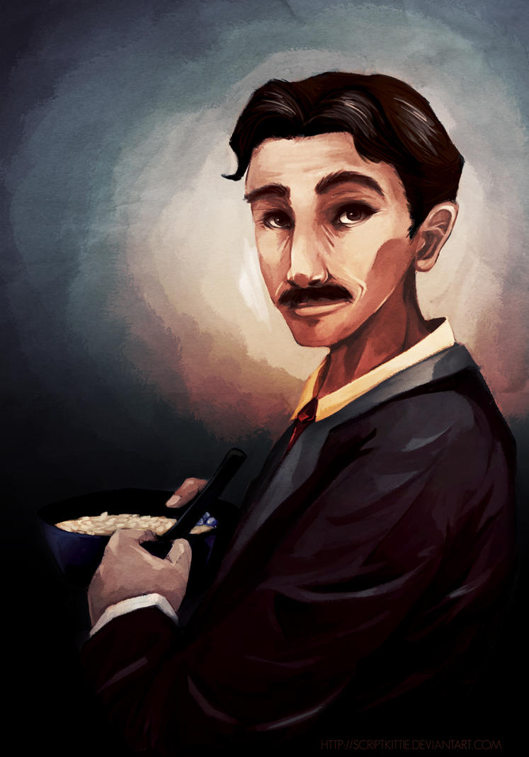 Portrait of Tesla and The Oatmeal by scriptKittie