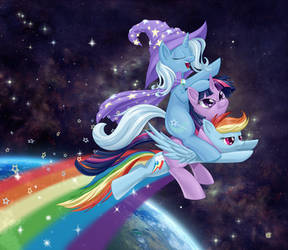 Wizard Riding a Unicorn on a Rainbow in Space