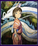 Chihiro and Haku (Spirited Away _ Hayao Miyazaki )