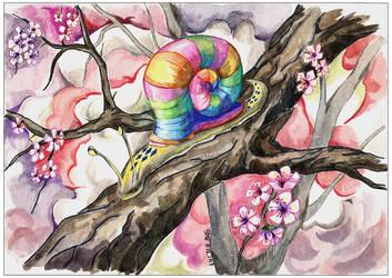 The snail on sakura
