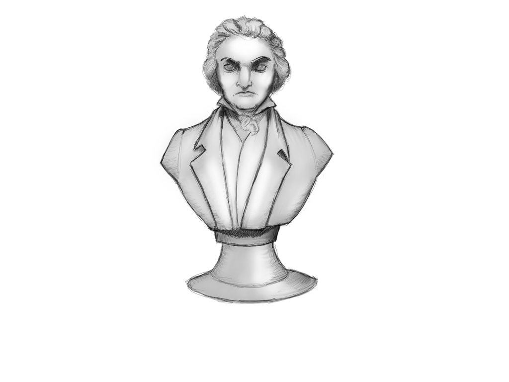 Sketch of a Photo of a Bust of a Composer by lnxwolf