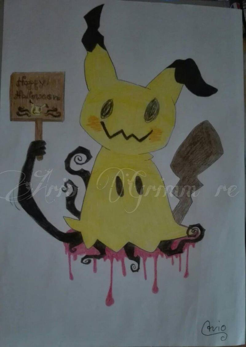 Mimikyu halloween art by ArioGrimmRe