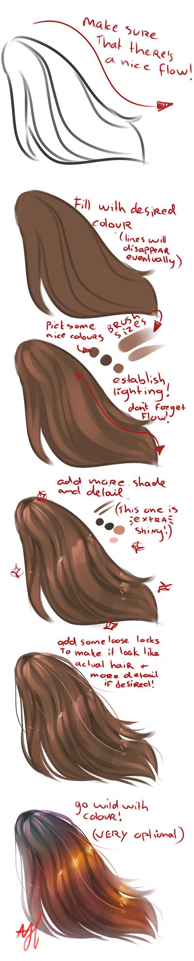 How I draw hair by Neozaki