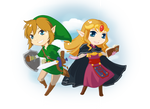 Chibis Link and Zelda Wii U