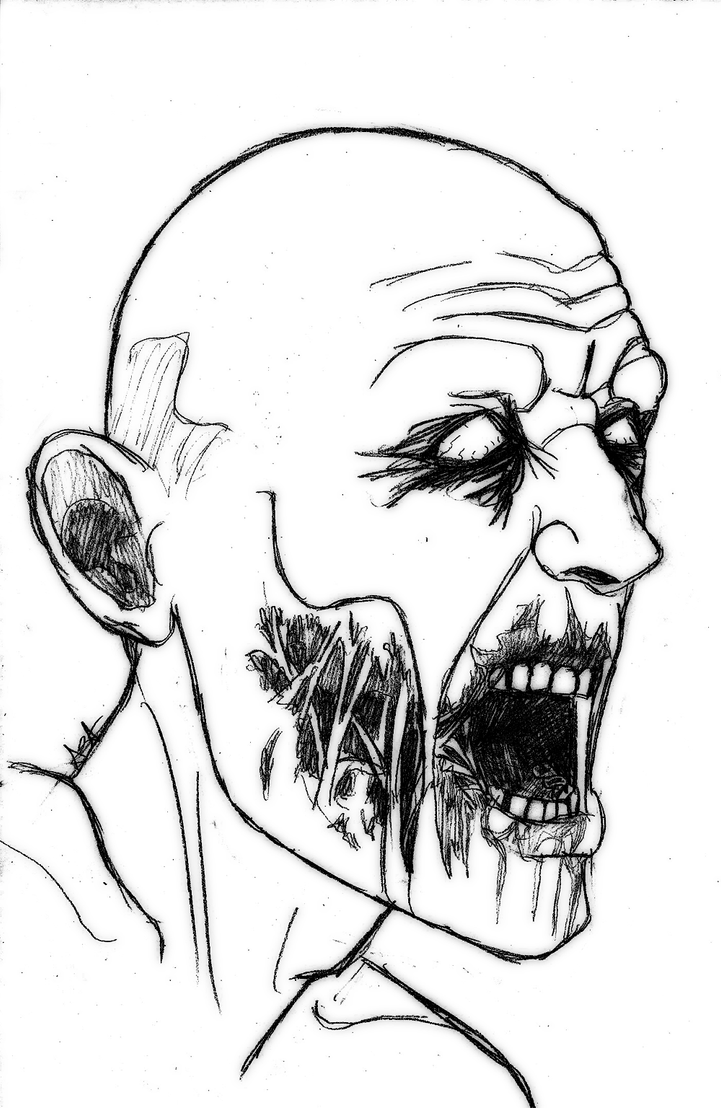 Zombie Face Line Drawing : Zombie sketch by aysamo on deviantart