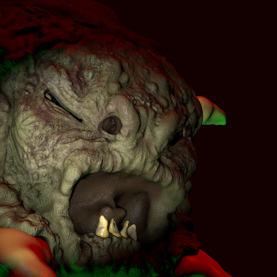 Sculptris Attempt #2 Old Demon, Rendered in Blende by TheClawTheySay
