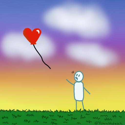 Floating heart. by KiaraDrawings