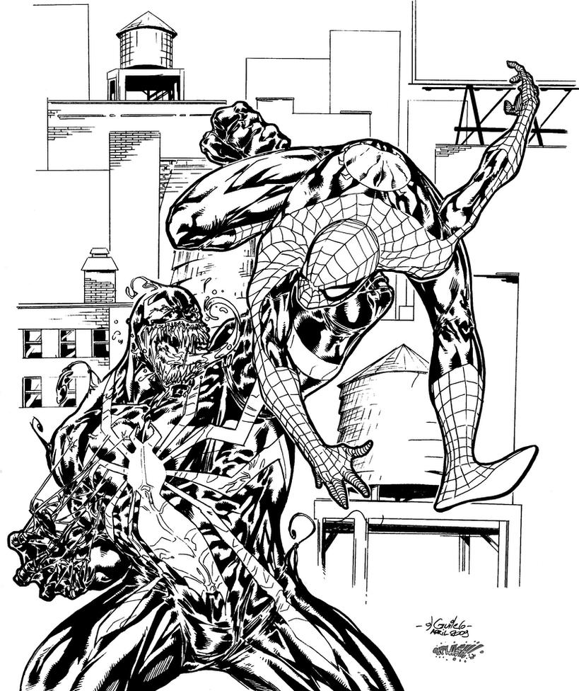 Spider-Man vs. Venom-Inks by SplashColors on DeviantArt