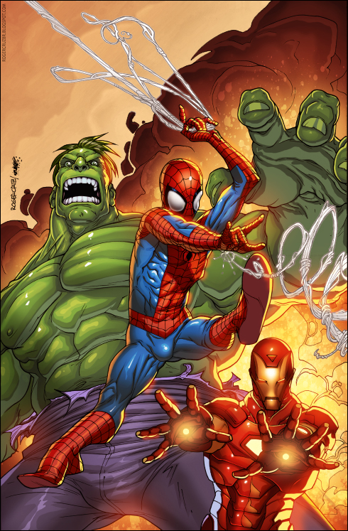 Spiderman hulk ironman colored by splashcolors on deviantart - Spiderman ironman and hulk ...