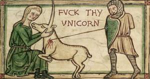 Knight slaying a foul beast