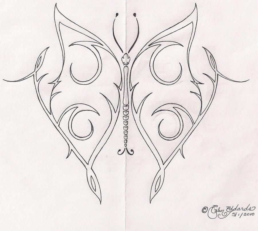 Tribal butterfly drawings