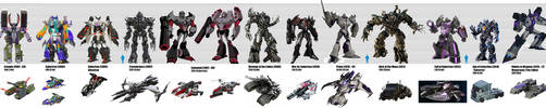 Transformers Evolution Megatron Size Chart by KaijuATTACK877