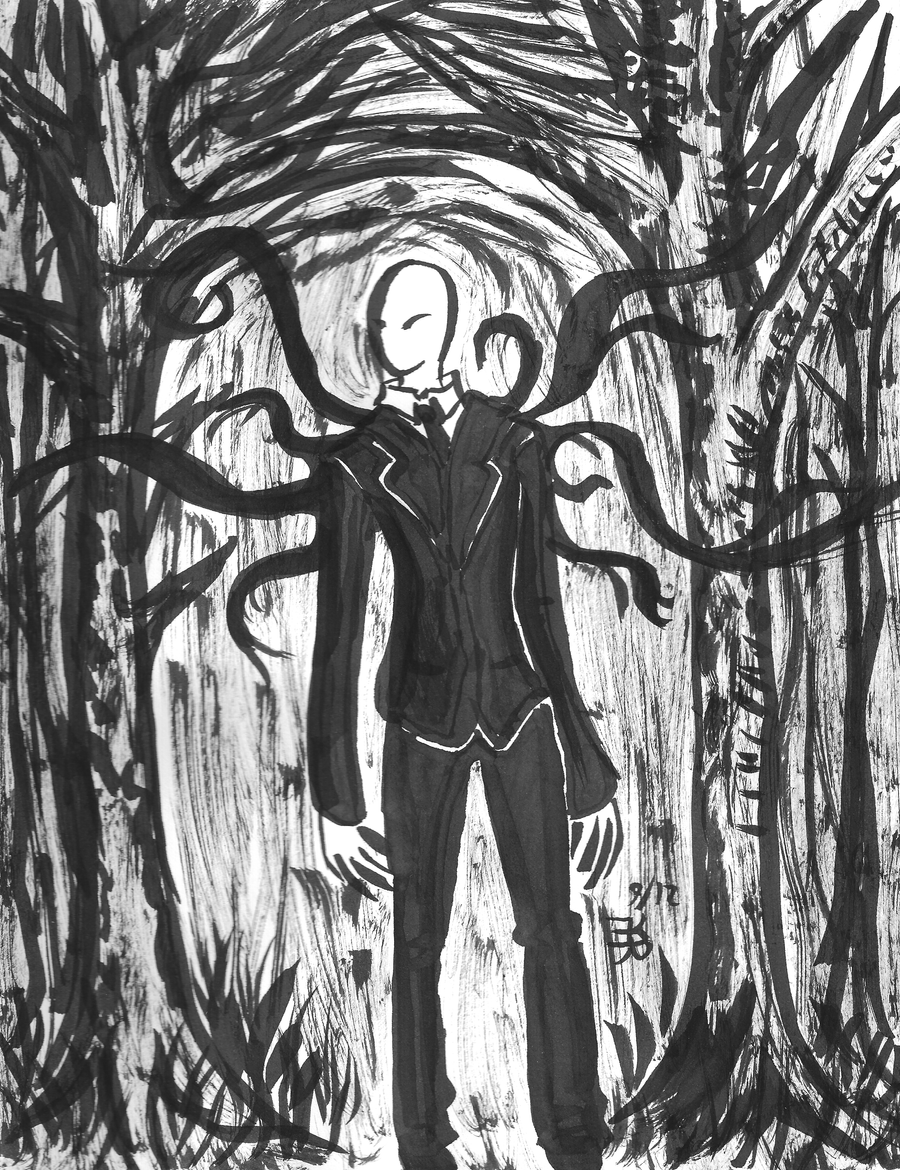 Slender man painting by death-g-reaper