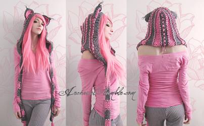 Pink and grey custom cat hood