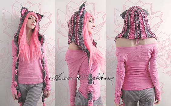 Pink and grey custom cat hood by Archaical
