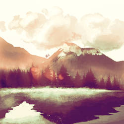 Misty Mountains at Morning by WildebeestNinetyNine
