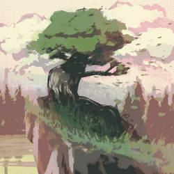 Tree on Cliff by WildebeestNinetyNine