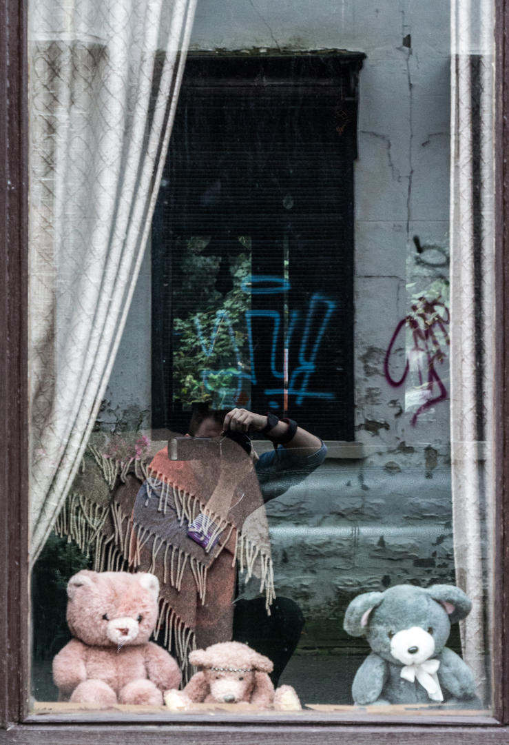 Cuddly toy in the window by Freedom-Of