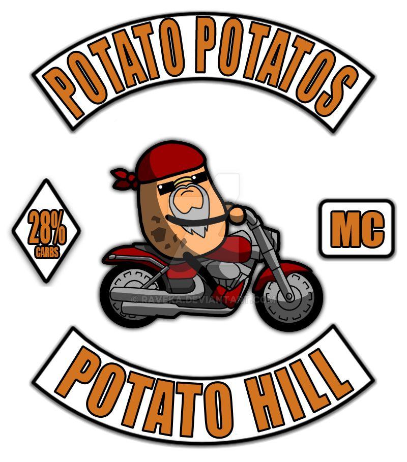 Potato Potatos MC - 3 Piece Motorcycle Club Patch by raveka