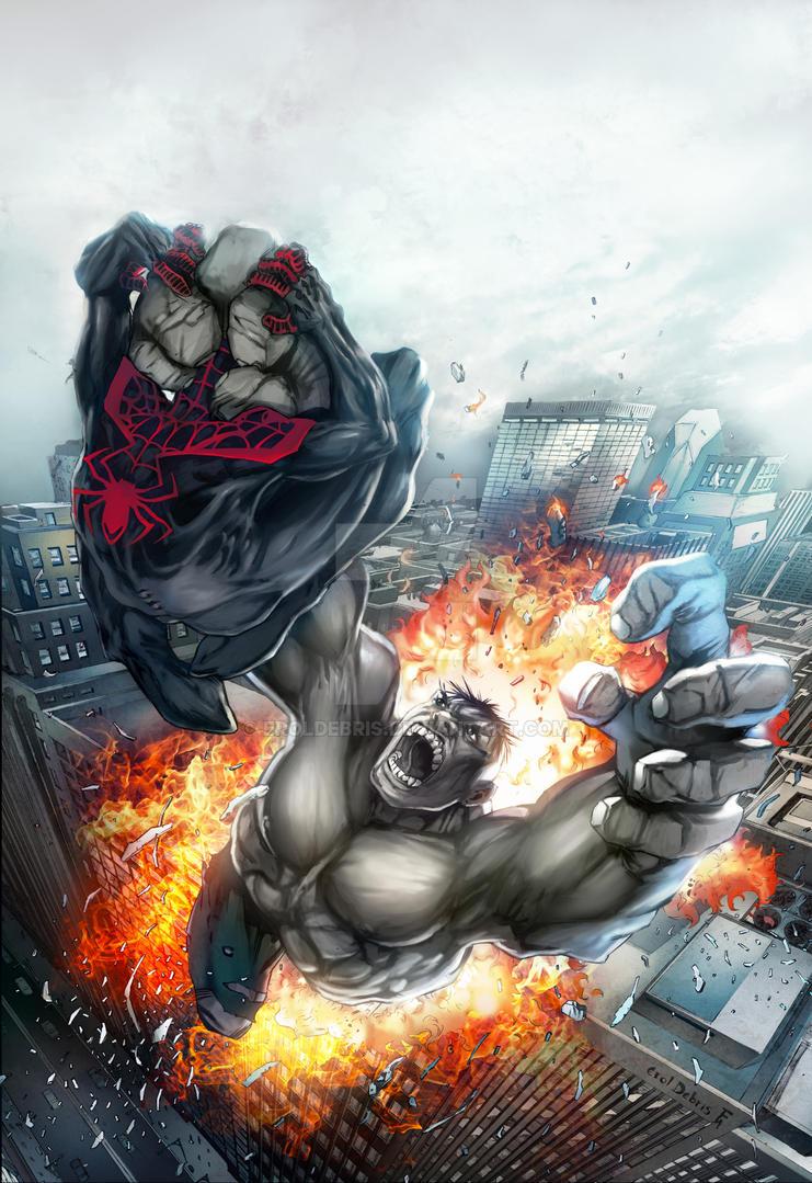 Ultimate Spiderman Hulk 201203-Colours by ErolDebris