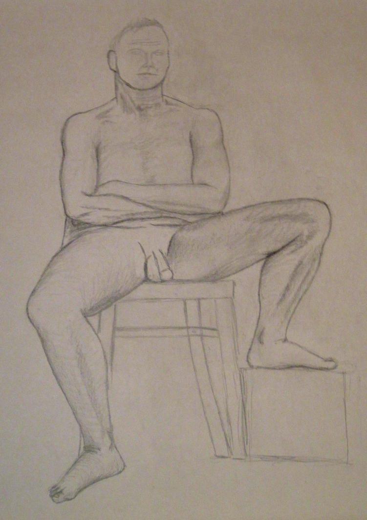 Sitting nude man by jajafilm