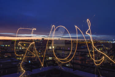 The inscription LOVE written with a sparkler 03