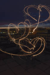 Hearts written with a sparkler