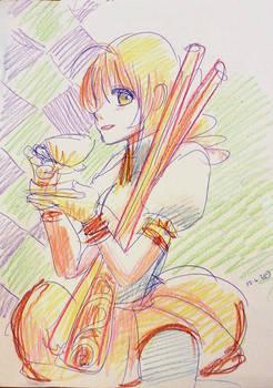 Mami-san with tea and rifles