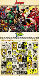 Retro inspired 2013 Marvel Comics Calendar, Jan.