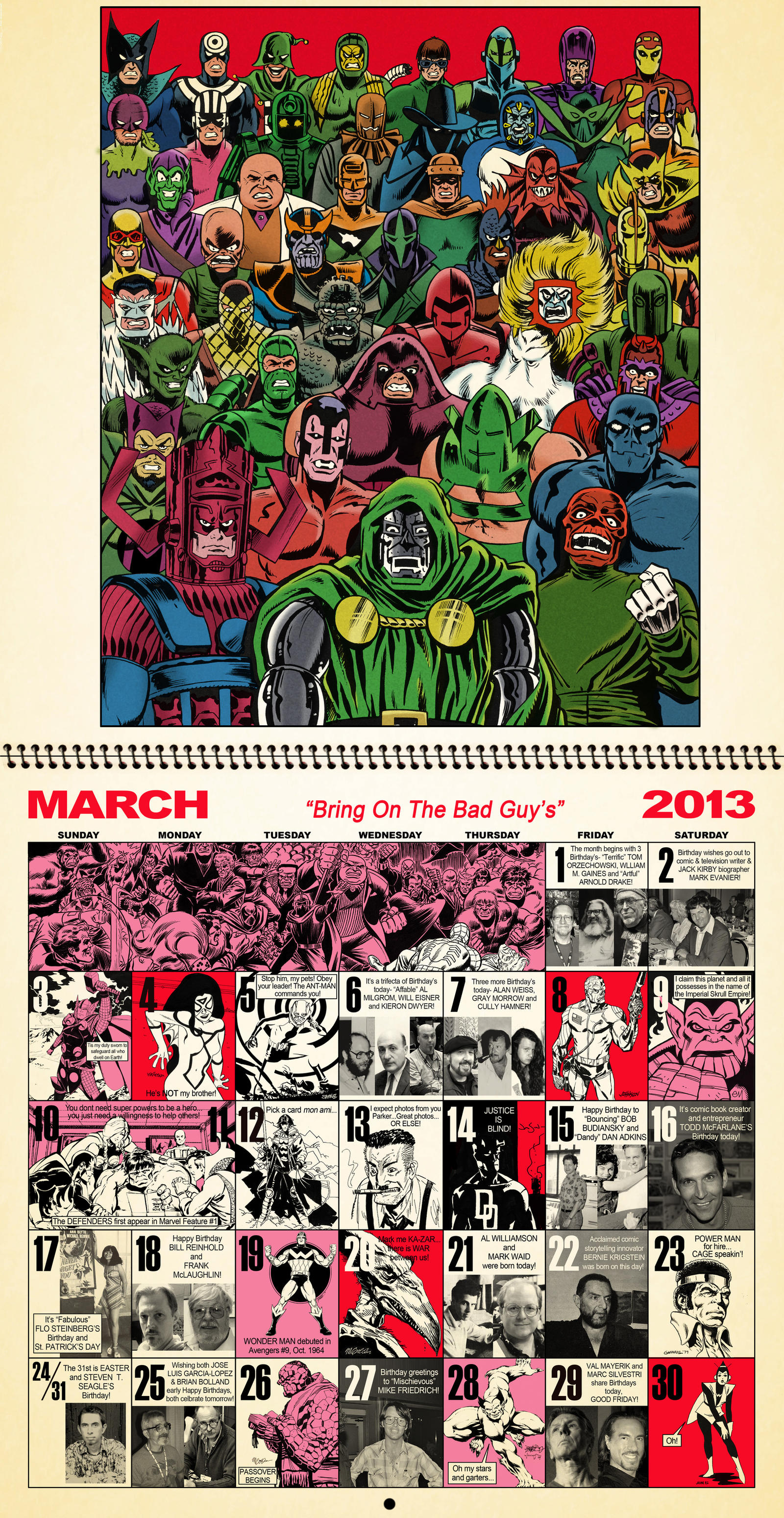 March 2013 Retro Marvel Calender............. by dusty-abell