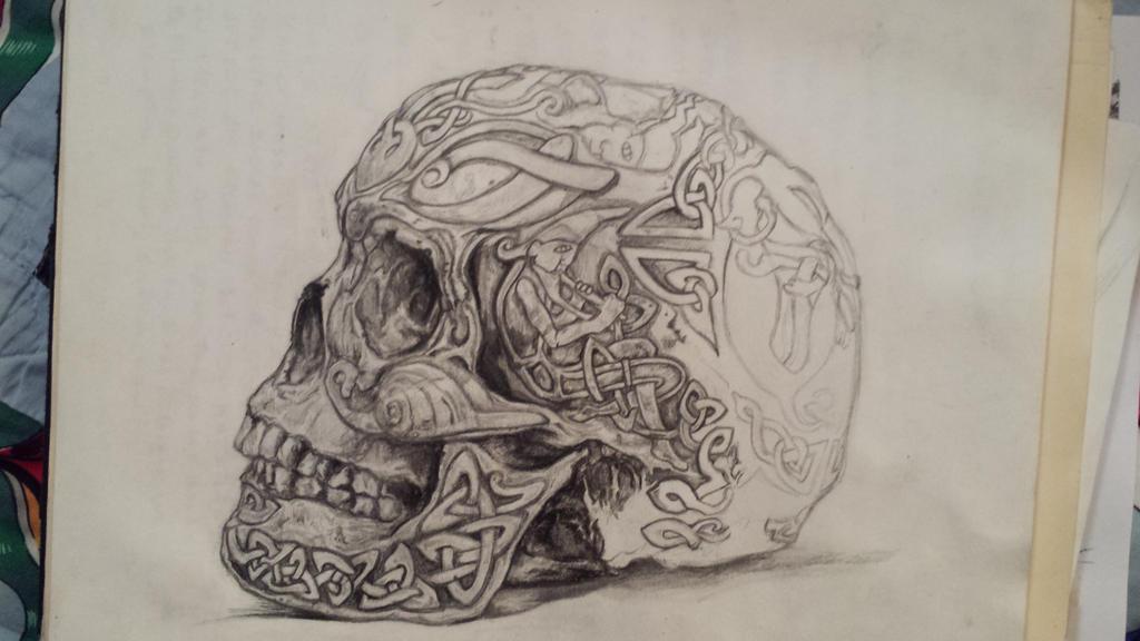Celtic skull wip 4 by theisnoworld on deviantart for Celtic skull tattoo