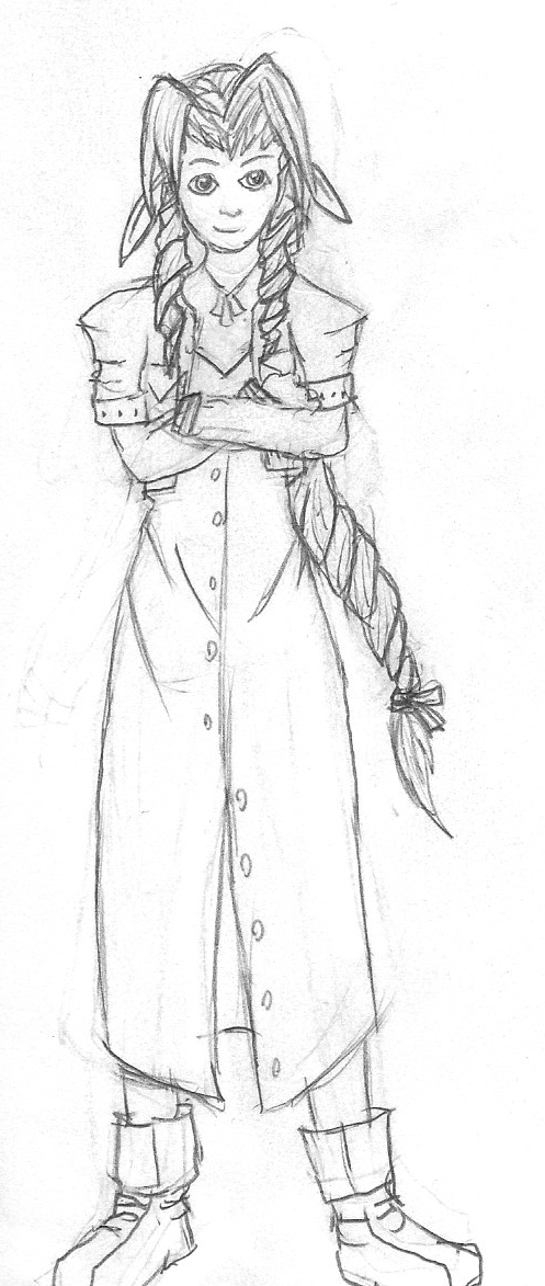 Aerith line drawing by SapphirexBlue