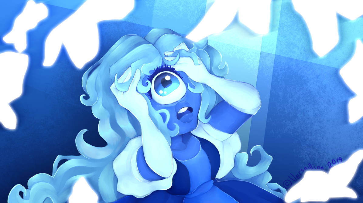 "I decided to make a repaint of a screenshot from Steven Universe's ""Here comes a thought"" song. I love Sapphire so of course the screenshot had to be of her."