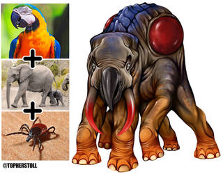 Creature Design Combo- Parrot, Elephant, Tick by Christopher-Stoll