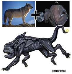 Creature Design Combo- Wolf, Angler Fish by Christopher-Stoll