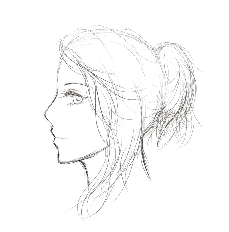 Sketch - Side Profile by Maina11 on DeviantArt Woman Side Profile Drawing