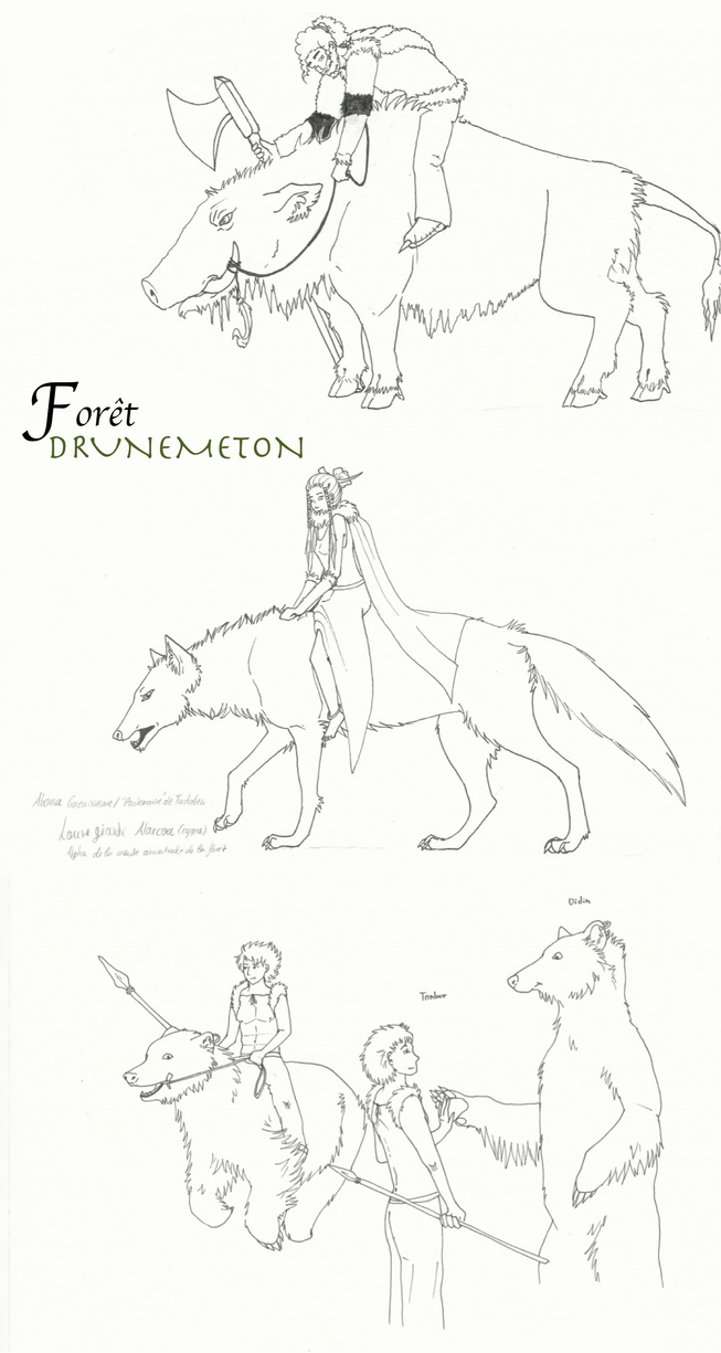 Foret Drunemeton characters by BlueTu