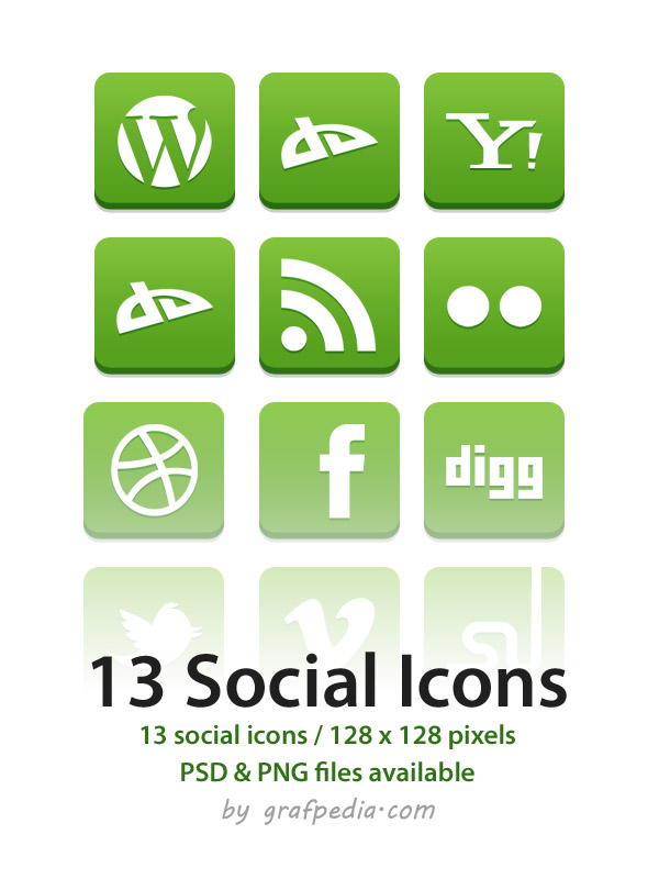 13 green social icon set by Grafpedia