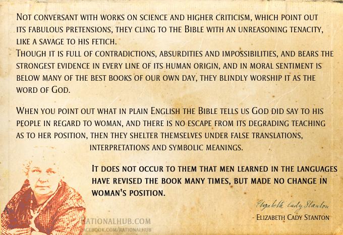 Elizabeth Cady Stanton on Bible.. by rationalhub on DeviantArt