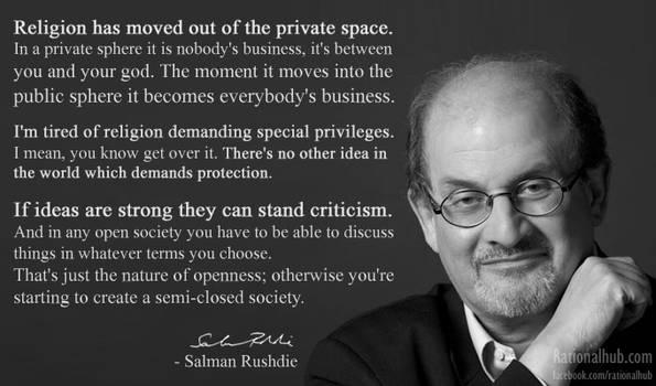 Salman Rushdie on respecting religious beliefs..