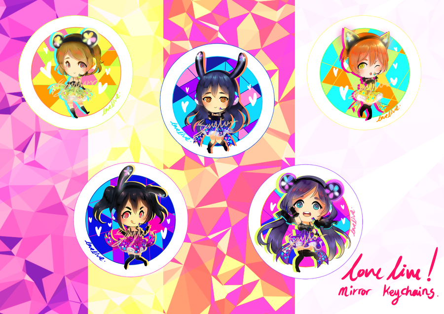 Love Live! mirror keychains! by Saylor-boo