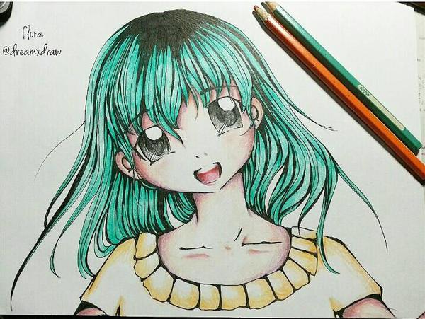 Anime Girl Mint Hair By Dreamxdraw On Deviantart