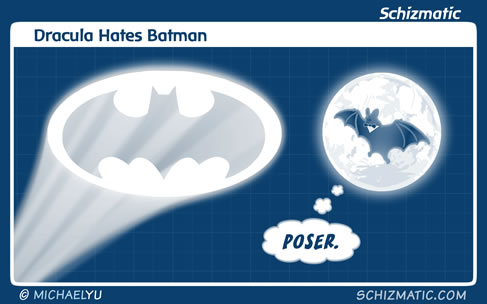 Dracula Hates Batman by schizmatic